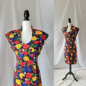 Double breasted cotton midi dress primary colors